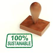 100% sustainable stamp shows environment protected and recycling - stock illustration