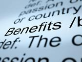 Stock Illustration of benefits definition closeup showing bonus perks or rewards
