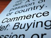 Stock Illustration of commerce definition closeup showing trading