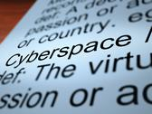 Stock Illustration of cyberspace definition closeup showing online networks