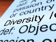 Diversity definition closeup showing different or diverse Stock Illustration