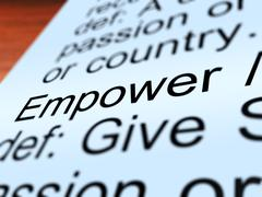 empower definition closeup showing authority or power - stock illustration