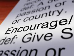 encourage definition closeup showing motivation - stock illustration