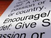 Encourage definition closeup showing motivation Stock Illustration