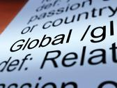Stock Illustration of global definition closeup showing worldwide or international