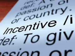 incentive definition closeup showing  enticing - stock illustration