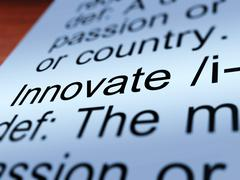 innovate definition closeup showing  ingenuity - stock illustration