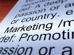 Marketing definition closeup showing promotion Stock Illustration