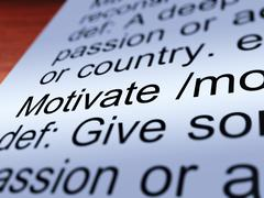 motivate definition closeup showing positive encouragement - stock illustration