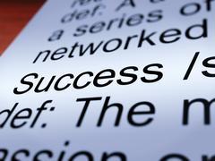 Success definition closeup showing achievements Stock Illustration