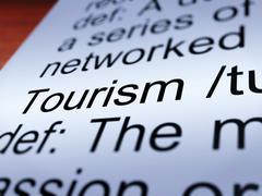 Tourism definition closeup showing traveling Stock Illustration