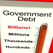 goverment debt meter showing nation owing billions - stock illustration