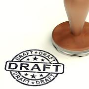 draft stamp shows outline document or letters - stock illustration
