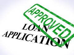 loan application approved shows credit agreement - stock illustration