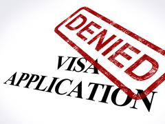 visa application denied stamp shows entry admission refused - stock illustration