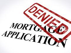 Mortgage application denied stamp shows home finance refused Stock Illustration