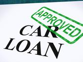 Stock Illustration of car loan approved stamp shows auto finance agreed