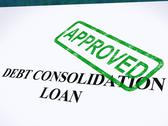 Stock Illustration of debt consolidation loan approved stamp shows consolidated loans agreed