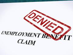 unemployment benefit claim denied stamp shows social security welfare refused - stock illustration
