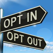 Stock Illustration of opt in and out signpost showing decision to subscribe or agree