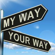 my or your way signpost showing conflict or disagreement - stock illustration
