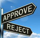 Stock Illustration of approve reject signpost showing decision to accept or decline
