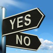 yes no signpost showing indecision choosing and dilemma - stock illustration
