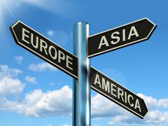 Stock Illustration of europe asia america signpost showing continents for travel or tourism