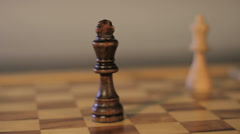 Queen takes King - Chess, Closeup Stock Footage