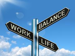work life balance signpost showing career and leisure harmony - stock illustration