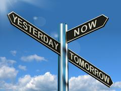 Yesterday now tomorrow signpost showing schedule diary or plan Stock Illustration