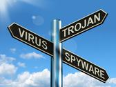Stock Illustration of virus trojan spyware signpost showing internet or computer threats