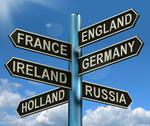 Stock Illustration of england france germany ireland signpost showing europe travel tourism and des