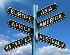 Europe asia america africa antartica australia signpost showing continents fo Stock Illustration