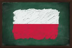 poland flag painted with chalk on blackboard - stock photo