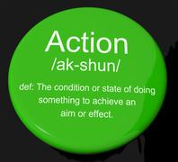 action definition button showing acting or proactive - stock illustration