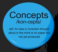 concepts definition button showing ideas thoughts or invention - stock illustration