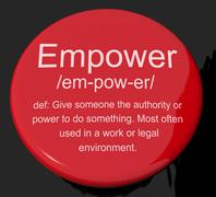 Empower definition button showing authority or power given to do something Stock Illustration