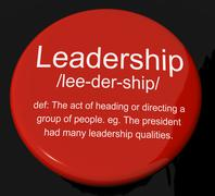 leadership definition button showing active management and achievement - stock illustration