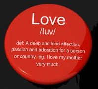 Love definition button showing loving valentines and affection Stock Illustration