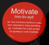 motivate definition button showing positive encouragement or inspiration - stock illustration