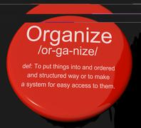 organize definition button showing managing or arranging into structure - stock illustration