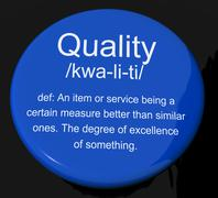 quality definition button showing excellent superior premium product - stock illustration