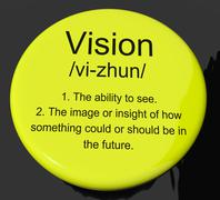 Stock Illustration of vision definition button showing eyesight or future goals