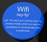 Wifi definition button showing internet connection zone access Stock Illustration