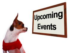 Upcoming events sign showing future occasions schedule for dogs site Stock Photos