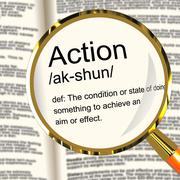 action definition magnifier showing acting or proactive - stock illustration