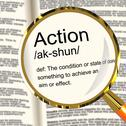 Action definition magnifier showing acting or proactive Stock Illustration