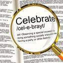 Stock Illustration of celebrate definition magnifier showing party festivity or event