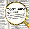 Stock Illustration of commerce definition magnifier showing trading buying and selling